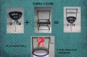 Weber plus Santa Maria style grill equals a Gabby grill, all you need is our attachment.