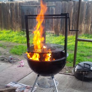 getting the grill ready